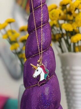Unicorn Enamel Necklace with Gold Plated Chain