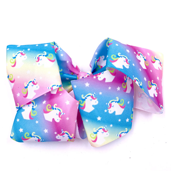 XL Pastel Rainbow Unicorn Ribbon Hair Bow  7in by 5in