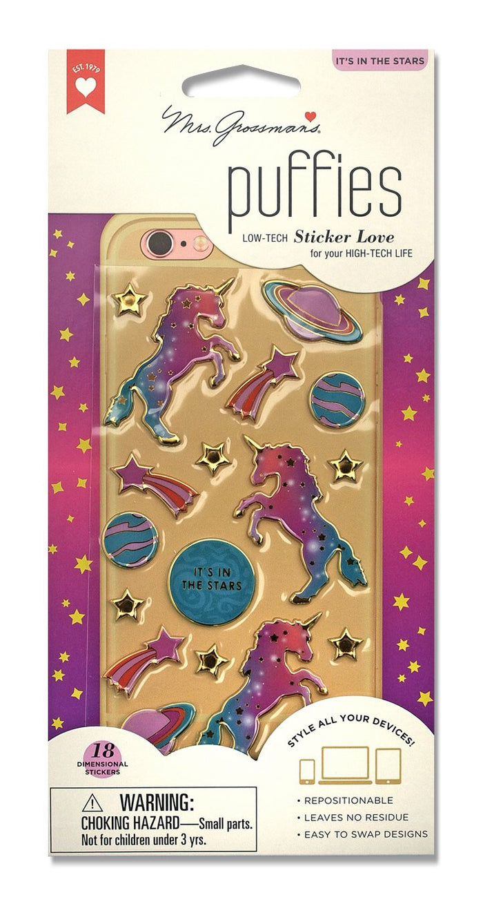 Unicorns It's In the Stars Puffies stickers  Mrs.G