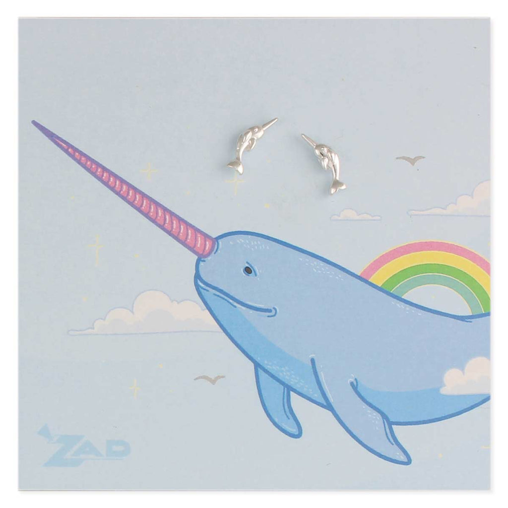 Cute Dainty Narwhal Unicorn of the sea Post Earring Surgical Steel Post by Zad