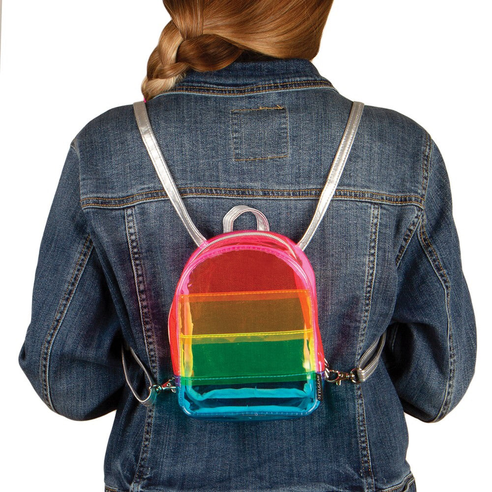 Transparent Micro Mini Rainbow Backpack