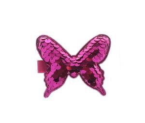 Fuchsia Butterfly Shaped Sequin Hair Clip by Doe a Dear