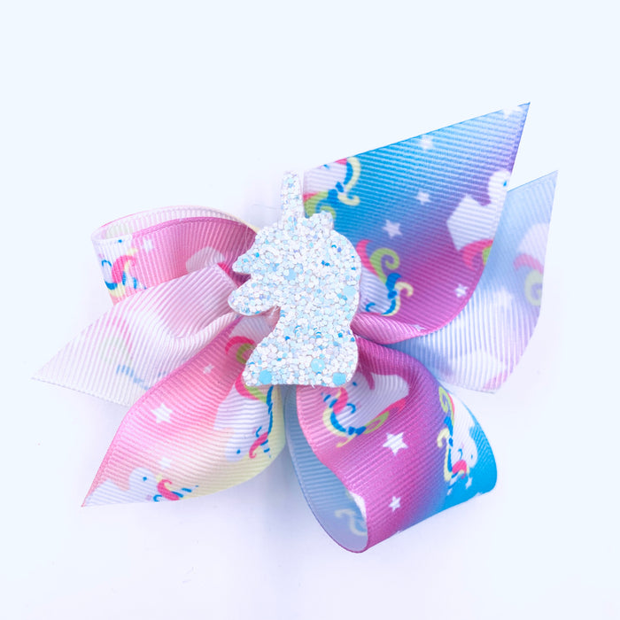 Pastel Unicorn Ribbon Hair Bow with Center Charm 3.5x3.5