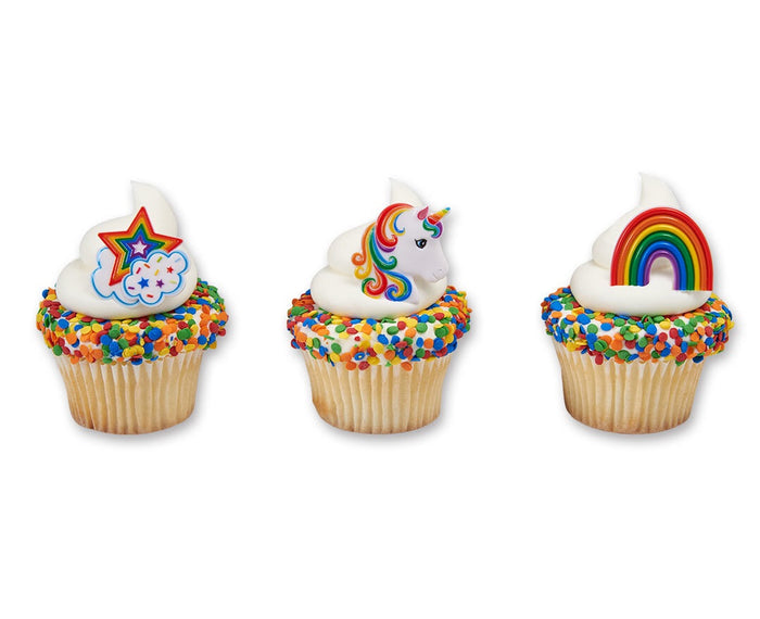 Rainbow and Unicorn Cupcake Ring Toppers pack of 12