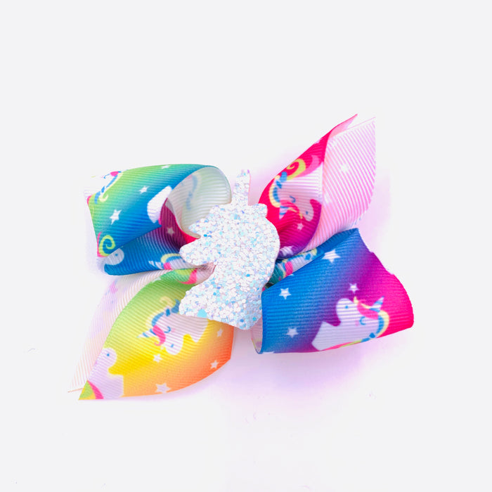 Bright Rainbow Unicorn Ribbon Hair Bow with Center Charm 3.5x3.5