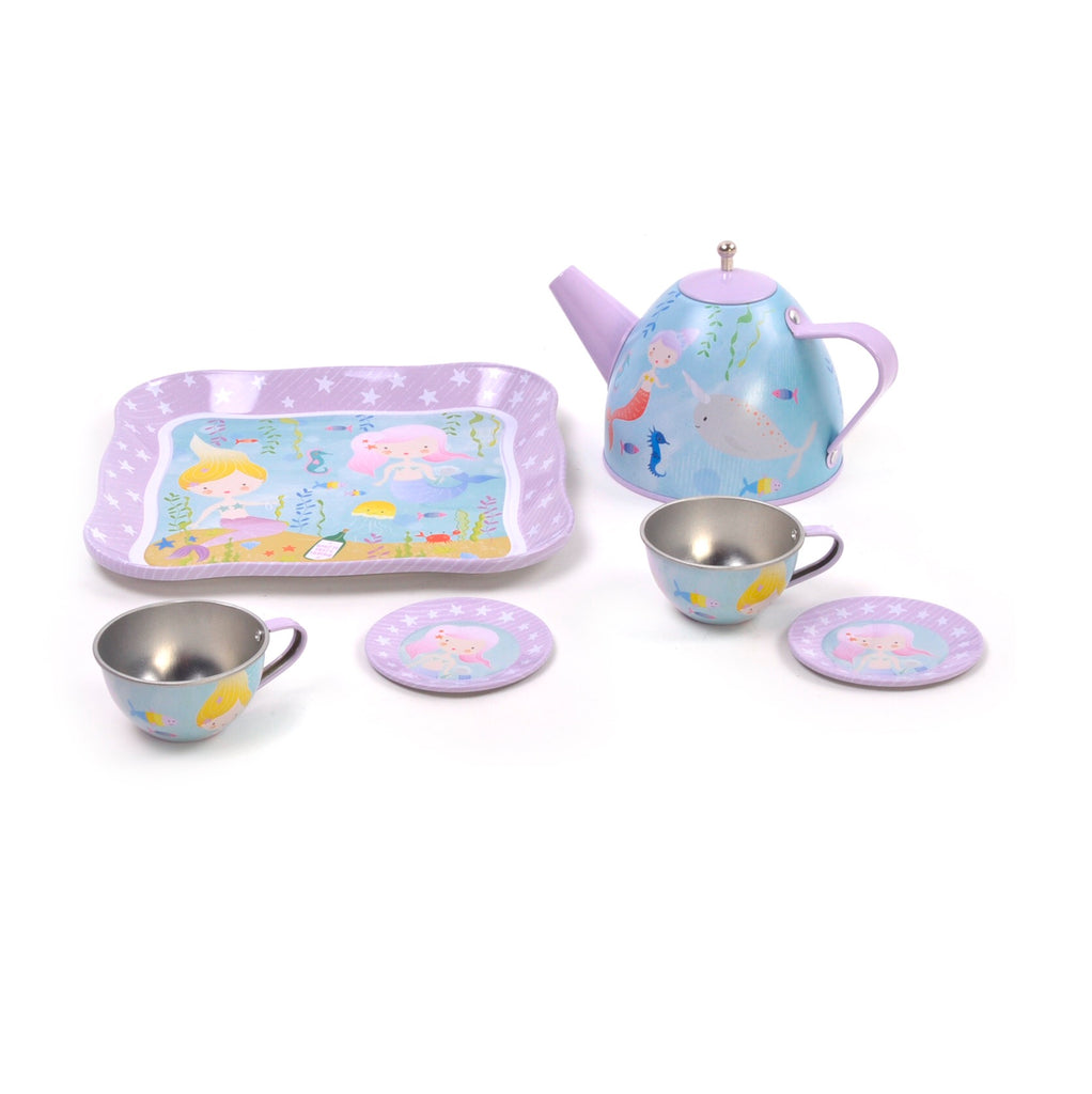 Mermaid 7pc Tin Tea Set in Case by Floss & Rock