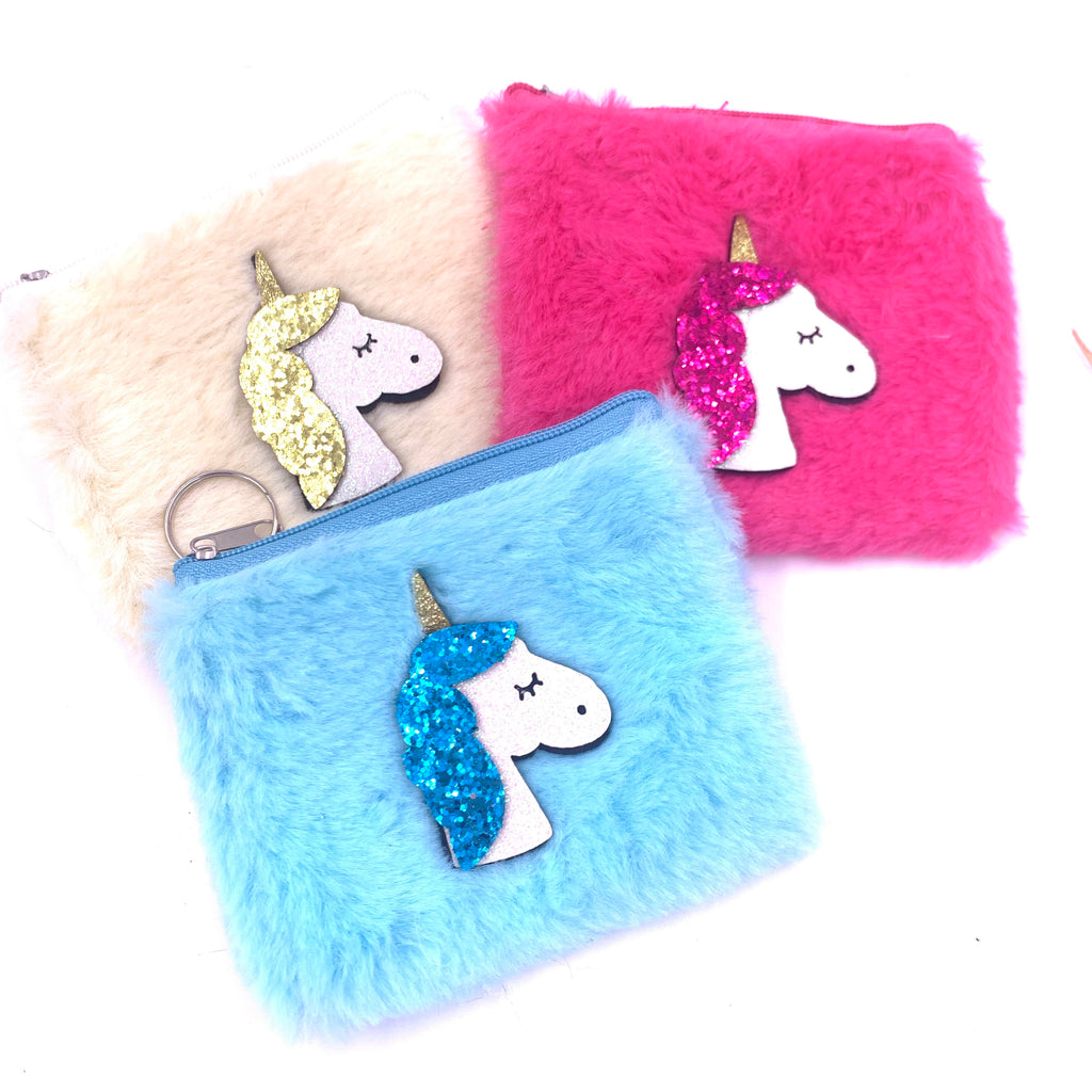 Unicorn Fluffy Coin Purse Key Chain misc colors faux fur