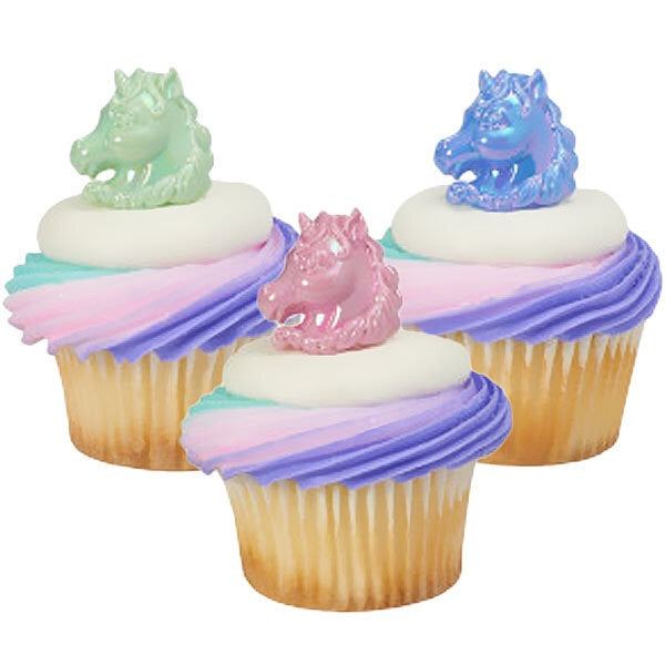 Pastel Unicorn Ring Cupcake toppers 12 Pack