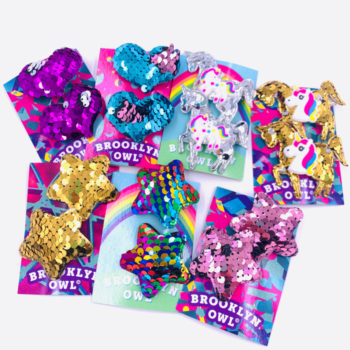 Pair of Small Reversible Sequin Hair Clips Set  Misc Colors and Styles