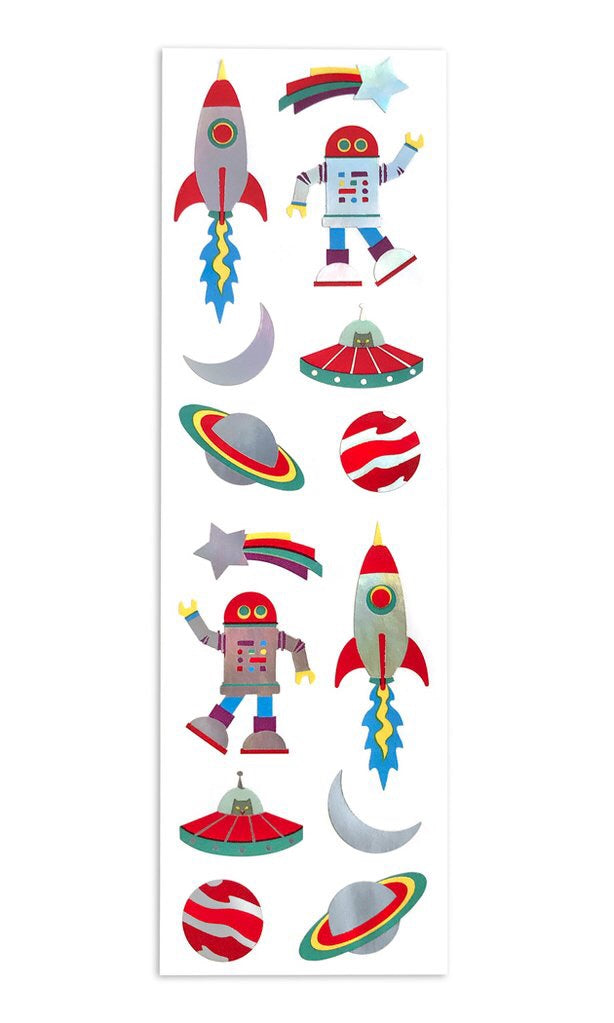 Retro Holographic Space Robots Stickers Strip Mrs.G