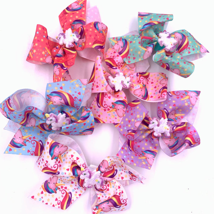 Unicorn Ribbon Hair Bow with Center Charm 4x3.5  Misc Colors
