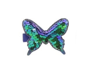 Blue Butterfly Shaped Sequin Hair Clip by Doe a Dear