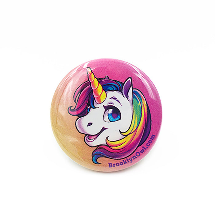 Rainbow Unicorn Head Button 1.5""