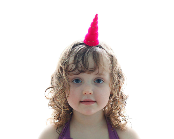 Fuchsia Felt Unicorn Horn Tween Size by Brooklyn Owl