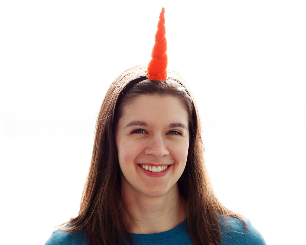 Orange Felt Unicorn Horn Original Size by Brooklyn Owl