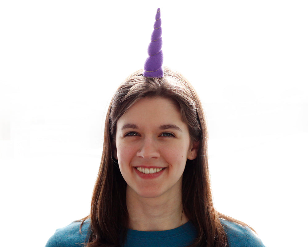 Purple Felt Unicorn Horn Original Size by Brooklyn Owl