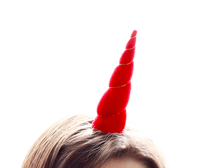 Red Felt Unicorn Horn Original Size by Brooklyn Owl