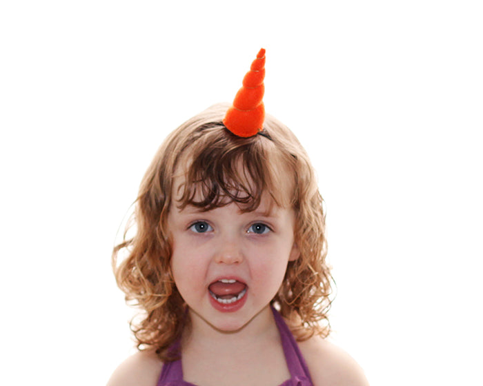 Orange Felt Unicorn Horn Tween Size by Brooklyn Owl