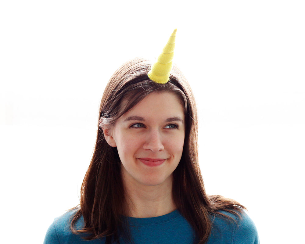 Yellow Felt Unicorn Horn Original Size by Brooklyn Owl