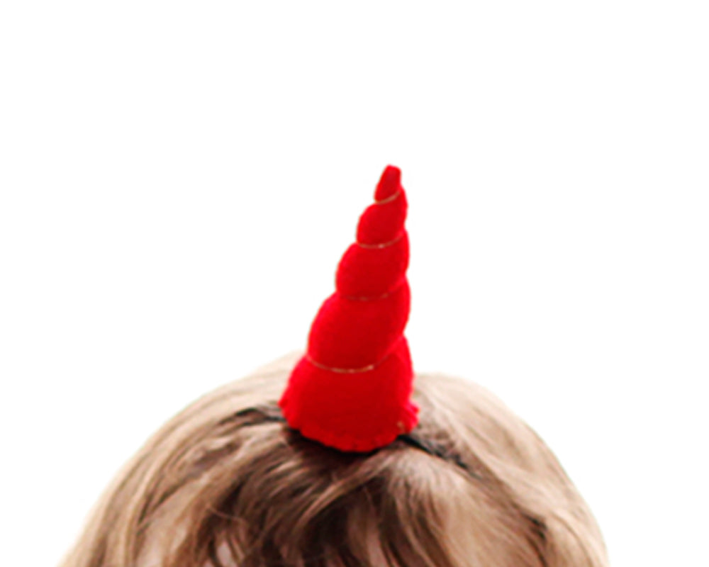 Red Felt Unicorn Horn Tween Size by Brooklyn Owl