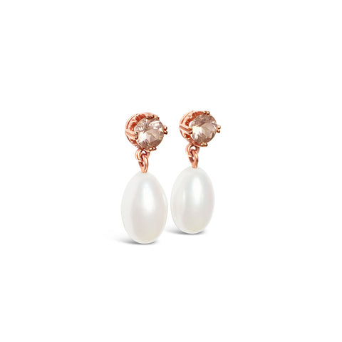 DIANA gold, morganite and pearl earrings ||  DIANA boucles d'oreilles en or avec morganite et perle