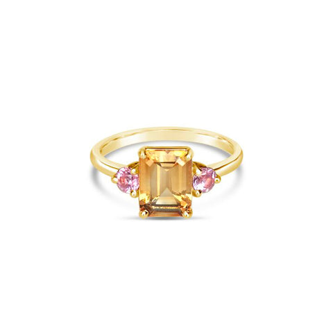 MIEL gold ring with citrine and rose sapphires ||  MIEL bague en or avec citrine et saphirs roses