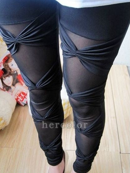 Hot Sexy Ripped Sexy Stretch Vintage Tights Legging Pants Black Leggings