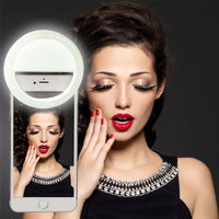 Powstro USB Rechargeable battery 4 levels selfie Led Phone Camera Ring Light for IPhone8 Samsung Dual Color 36 LEDs