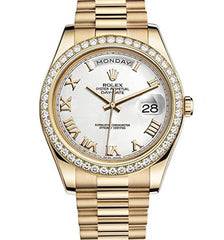 ROLEX DAY-DATE II YELLOW GOLD DIAMOND BEZEL WATCH - 218348