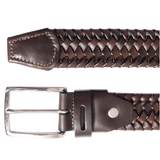 "72 Smalldive Men - Accessories - Belts 1.5"" Brown Leather Elastic Weave Belt"