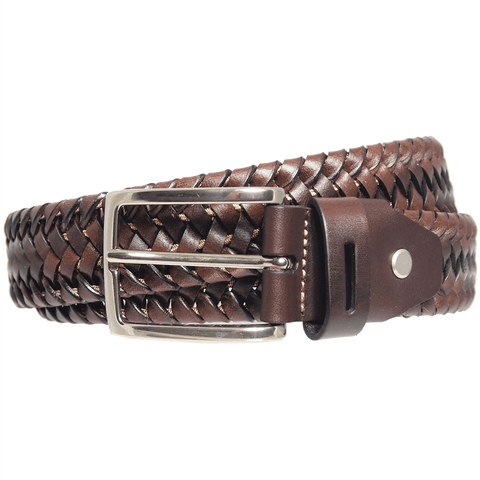 "72 Smalldive Men - Accessories - Belts L 100 / 115 1.5"" Brown Leather Elastic Weave Belt"