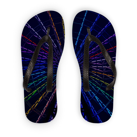 alloverprint.it Accessories Black Strap / S Overall Print Flip Flops - Ferris Wheel
