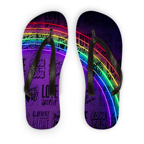 alloverprint.it Accessories Black Strap / S Overall Print Flip Flops - Love Is Love