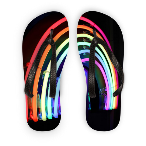 alloverprint.it Accessories Black Strap / S Overall Print Flip Flops - Neon Rainbow