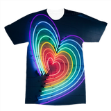 alloverprint.it Apparel XS Overall Print Recycled Tee Shirt - Rainbow Hearts