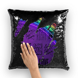 alloverprint.it Homeware Black / White Overall Print Mermaid Sequin Pillow - Love Is Love