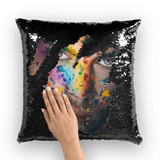 alloverprint.it Homeware Black / White Overall Print Mermaid Sequin Pillow - Pride Face