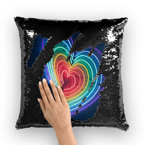 alloverprint.it Homeware Black / White Overall Print Mermaid Sequin Pillow - Rainbow Hearts