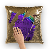 alloverprint.it Homeware Gold / White Overall Print Mermaid Sequin Pillow - Love Is Love