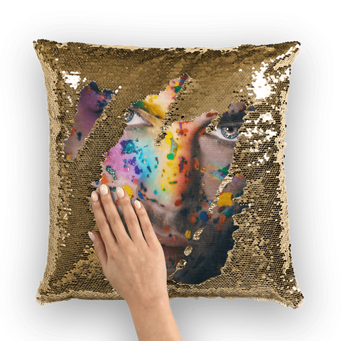 alloverprint.it Homeware Gold / White Overall Print Mermaid Sequin Pillow - Pride Face