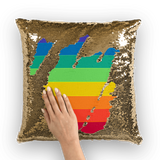 alloverprint.it Homeware Gold / White Overall Print Mermaid Sequin Pillow - Pride Flag