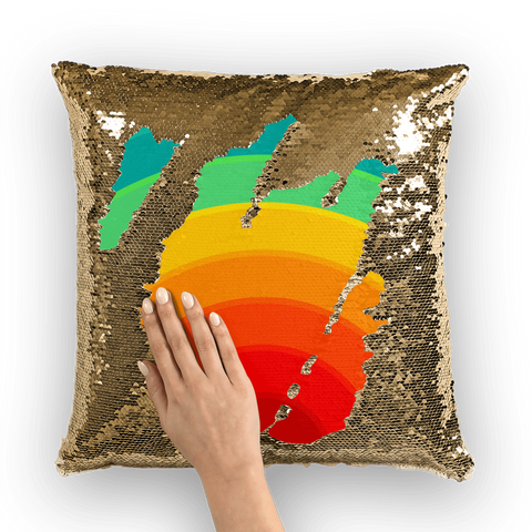 alloverprint.it Homeware Gold / White Overall Print Mermaid Sequin Pillow - Pride Rainbow