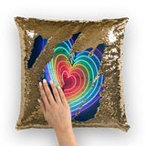 alloverprint.it Homeware Gold / White Overall Print Mermaid Sequin Pillow - Rainbow Hearts