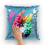 alloverprint.it Homeware Light Blue / White Overall Print Mermaid Sequin Pillow - Dahlia