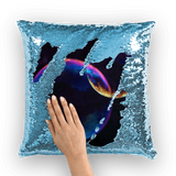 alloverprint.it Homeware Light Blue / White Overall Print Mermaid Sequin Pillow - Pride Bubbles