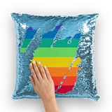 alloverprint.it Homeware Light Blue / White Overall Print Mermaid Sequin Pillow - Pride Flag