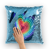 alloverprint.it Homeware Light Blue / White Overall Print Mermaid Sequin Pillow - Rainbow Hearts
