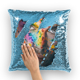 alloverprint.it Homeware Light Blue / White with insert Overall Print Mermaid Sequin Pillow - Pride Face