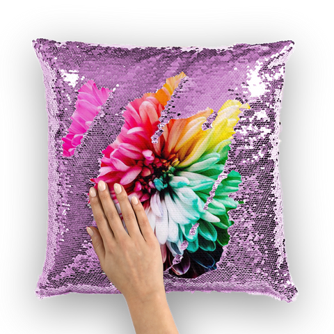 Overall Print Mermaid Sequin Pillow - Dahlia