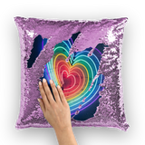 alloverprint.it Homeware Purple / White Overall Print Mermaid Sequin Pillow - Rainbow Hearts